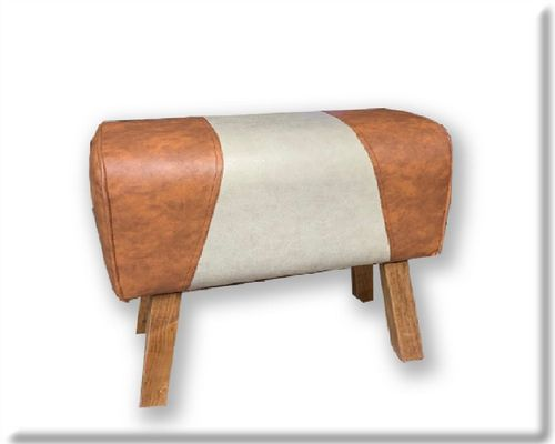 68cm Faux Leather And Canvas Effect Gym Pommel Horse Stool